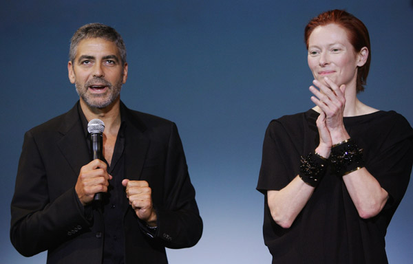 george clooney and tilda swinton in deauville джордж клуни и тильда суинтон на кинофестивале в довиле