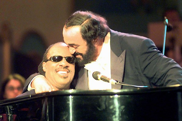 luciano pavarotti and stevie wonder