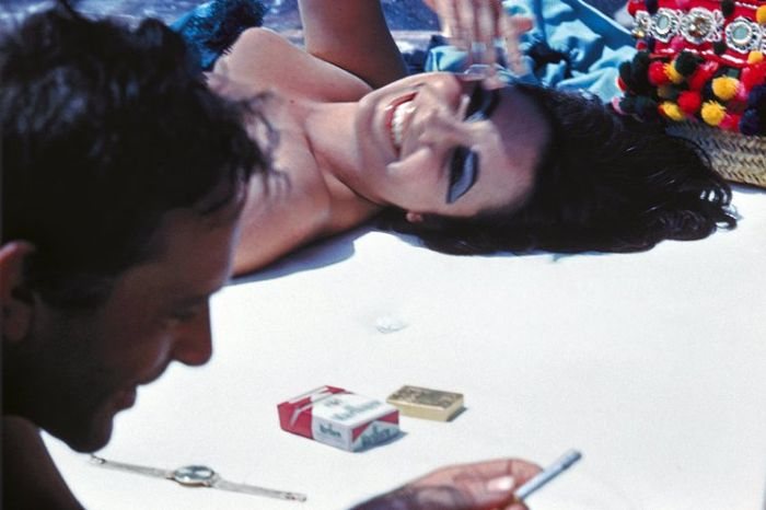 bert stern liztaylor and richard burton in ischia 1962