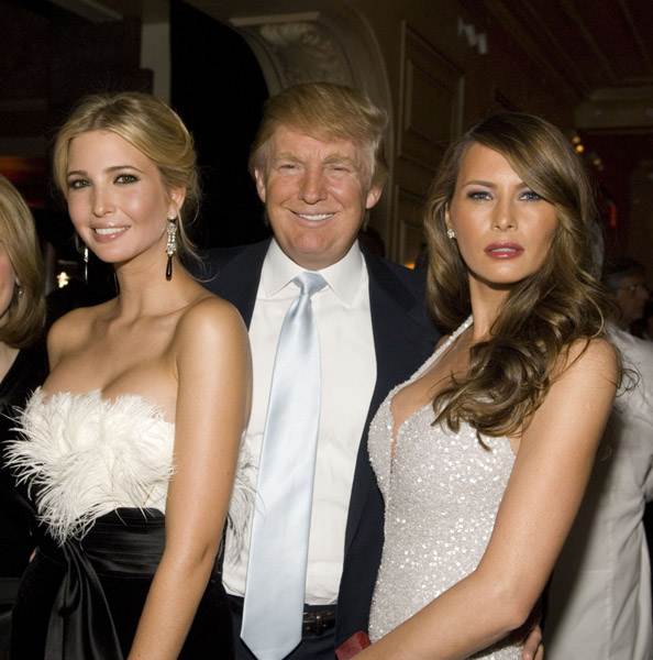 donald trump with melanie trump and ivanka trump