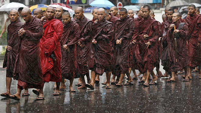 monks protest in myanmar