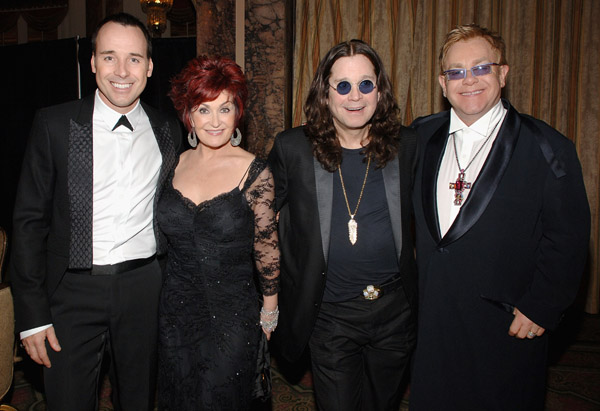 элтон джон оззи осборн шэрон осборн дэвид ферниш david furnish sharon osbourne ozzy osbourne elton john at Annual Elton John AIDS Foundation Benefit