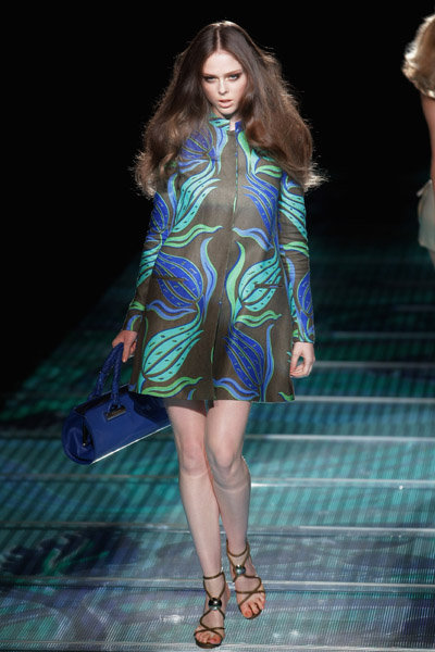 versace at milan fashion week with coca rocha