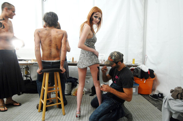 lydia hearst backstage at heatherette