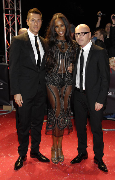 domenico dolce naomi campbell and stefano gabbana at swarowski fashion rocks 2007 in london