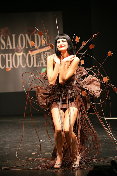 spanish model irene salvador at paris chocolate show