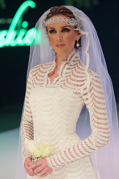 Mexican supermodel Jacqueline Bracamontes at Nicolas Felizola fashion show at mexico fashion week