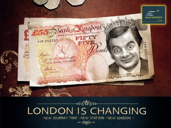 eurostar ad print 55 pound bill mr bean - рекламный принт