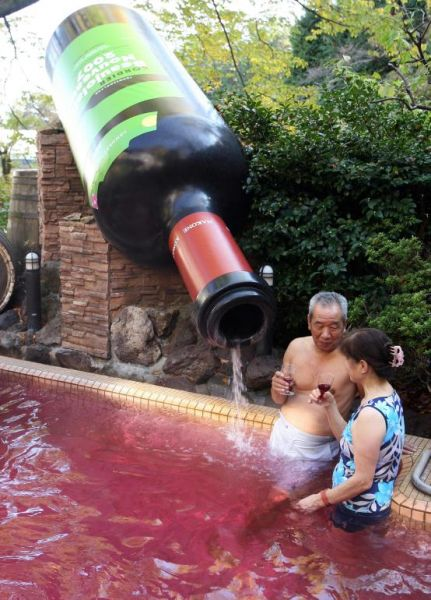 swimming pool with red wine beaujolais nouveau