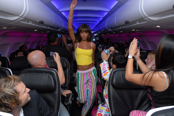 selita ebanks pj-party on board virgin america flight