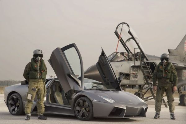 lamborghini reventon against tornado fighter jet