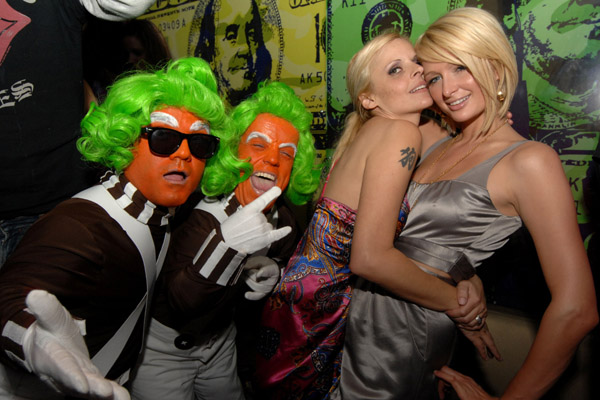 paris hilton and oompa loompas at beacher's madhouse party