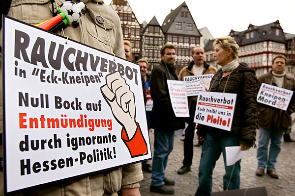 protest against new regulations against smoking in public places in germany