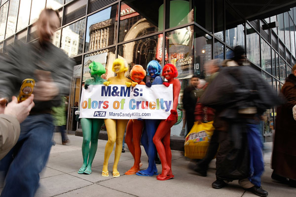 PETA Members Protest Outside the M&M's World Store in New York