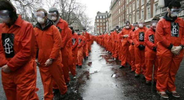 US Embassy in London in a protest calling for the closure of Guantanamo Bay