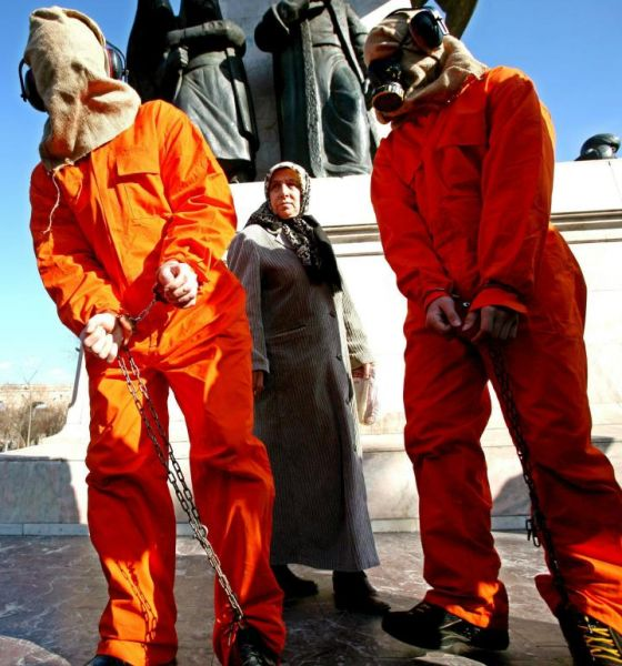 U.S. Embassy in London in a protest calling for the closure of Guantanamo Bay