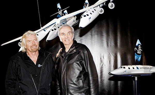 richard branson and burt rutan present spaceshiptwo commercial spacecraft from virgin galactic