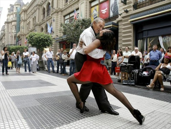 tango dances at florida street in buenos aires in argentina