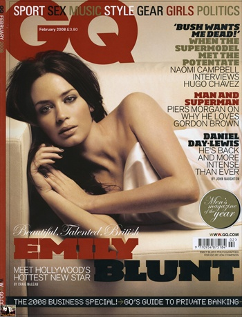 emily blunt gq cover uk edition february 2008