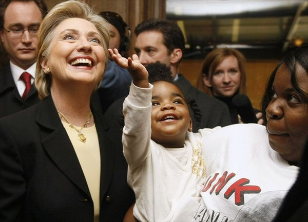 hillary clinton with afro-american supporters