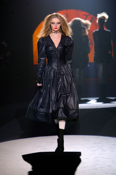 model walks the runway wearing Betsey Johnson Fall 2008 during Mercedes-Benz Fashion Week