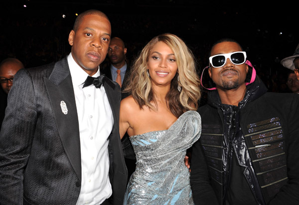 jay-z beyonce and kanye west backstage at grammy awards