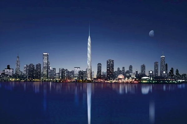 the chicago spire night skyline
