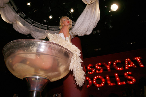 Paris Hilton performs as a Pussycat Doll at her Birthday Party in the Pussycat Doll Lounge
