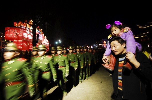lantern festival in beijing china, chinese soldiers
