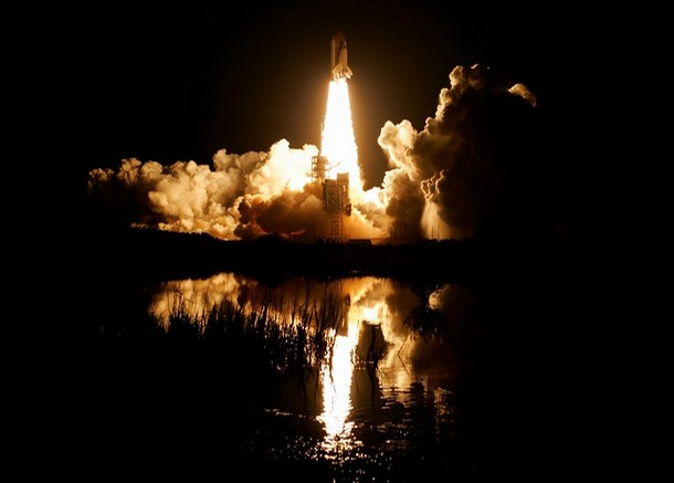 The space shuttle Endeavour lifts off from the launch pad 39-A, at the Kennedy Space Center