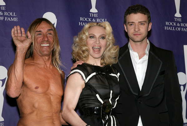 Iggy Pop, Madonna, Justin Timberlake. 23rd Annual Rock and Roll Hall of Fame