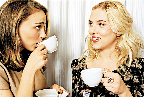 tea-time with natalie portman and scarlett johansson by ben wolf for stern magazine