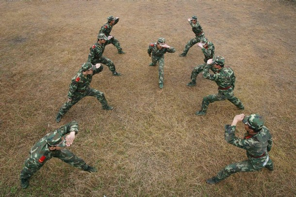 Suining, Sichuan province, China, Paramilitary training
