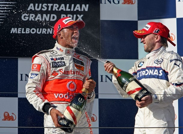 lewis hamilton and nick heidfeld celebrating victory at Australian Formula1 GrandPrix Albert Park