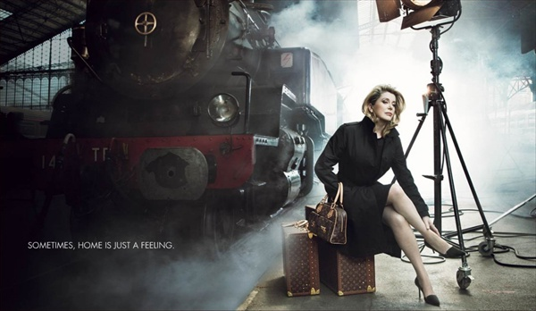 catherine deneuve for louis vuitton luggage and travel ad campaign катрин денев
