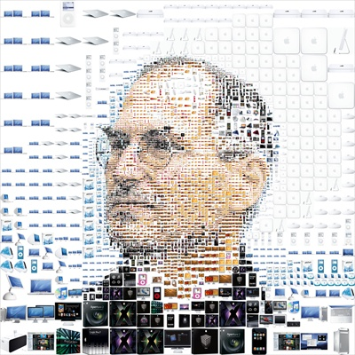 Steve Jobs photo mosaic from Apple products