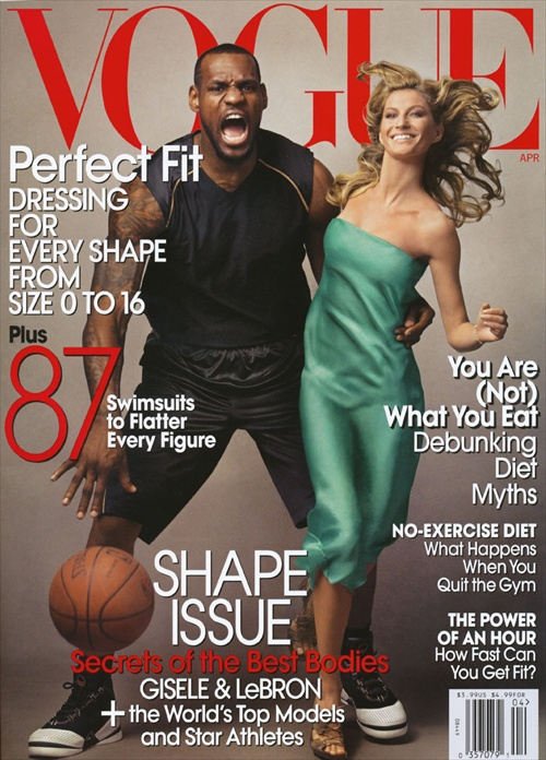 vogue april 2008 us edition cover featuring gisele bundchen and lebron james