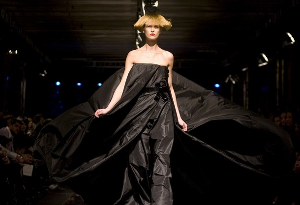 model displays a creation by Russian fashion designer Igor Chapurin