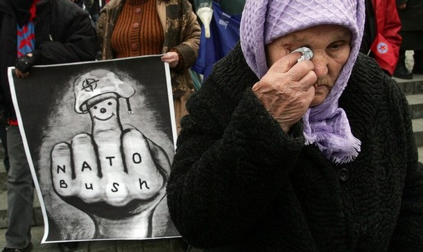 Demonstrators rallying to protest President Bush's visit and Ukraine's efforts to join NATO