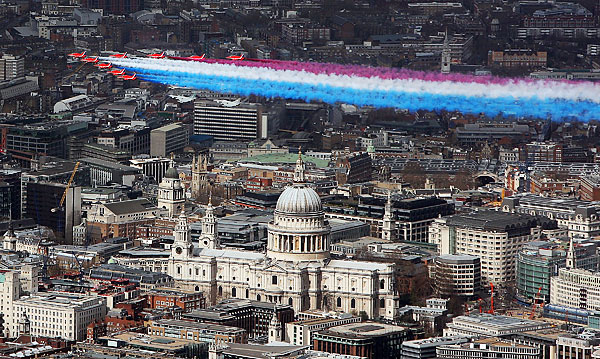 red arrows 90th anniversary of britishi royal air force in london