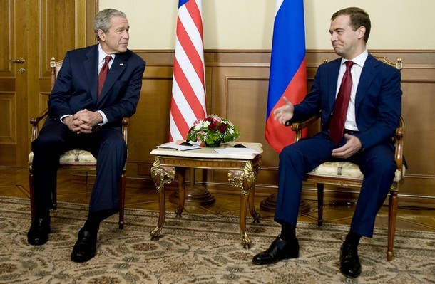 dmitry medvedev and george w bush in sochi