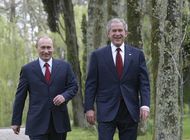 george w bush and vladimir putin in sochi