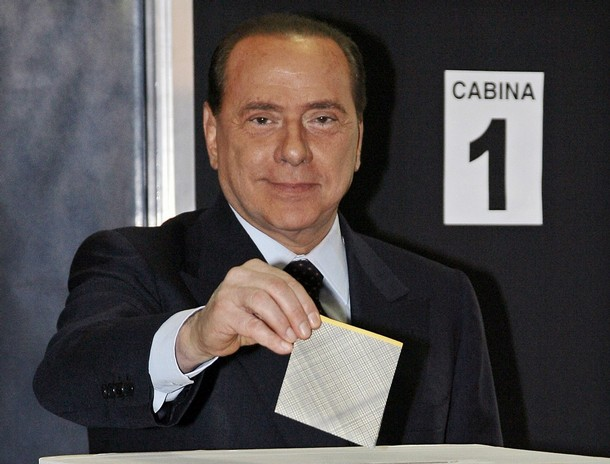 Silvio Berlusconi votes at a polling station in Milan, northern Italy, April 13, 2008