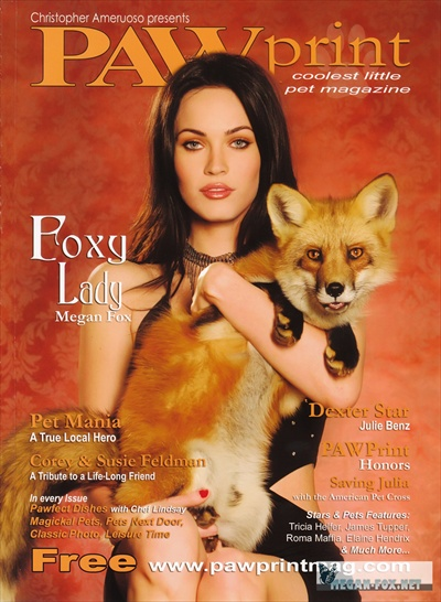 Megan Fox as foxy lady - Raw Print magazine cover