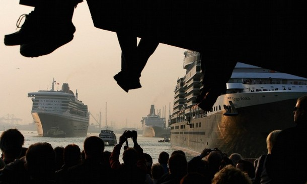 three queens meet at southampton harbour - queen mary 2, queen victory and queen elizabeth 2