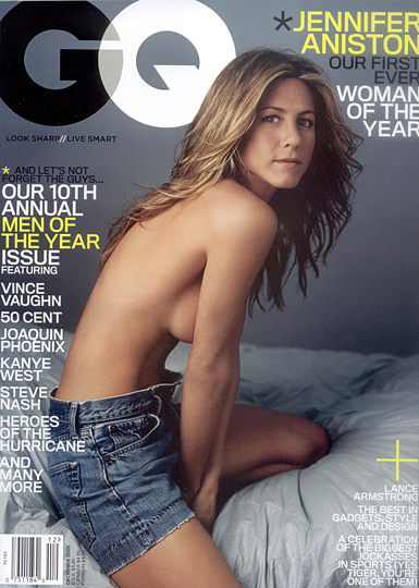 jennifer aniston half naked on the cover of gq magazine