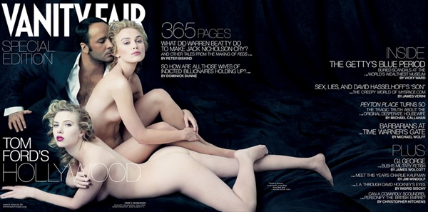 vanity fair cover with tom ford and nude and naked scarlett johansson and keira knightley