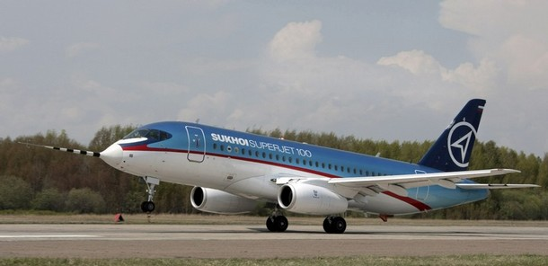 Russian passenger Sukhoi Superjet 100 aircraft rolls down the tarmac at Komsomolsk-na-Amure