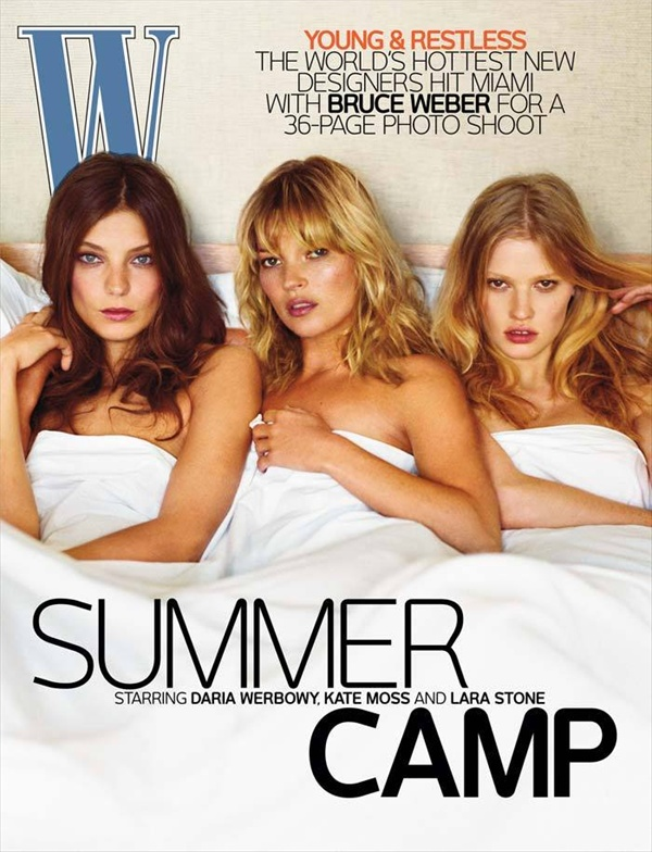 Daria Werboby, Kate Moss, Lara Stone on the cover of W Magazine July 2008