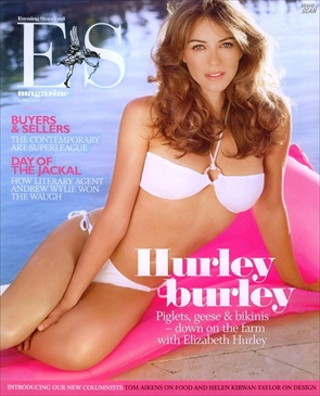 Liz Hurley Evening Standard tabloid, bikini photoshoot